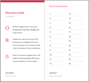 Recovery sheet Ledger